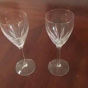 LENOX CRYSTAL WINE GLASS PAIR W/GOLD RIM